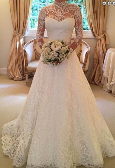 Modern Wedding Dresses Cream With Sleeves Lace A Line Wedding Dress Cheap
