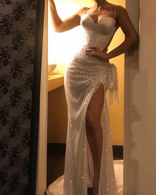Evening dresses long white cheap | Elegant glitter evening dress