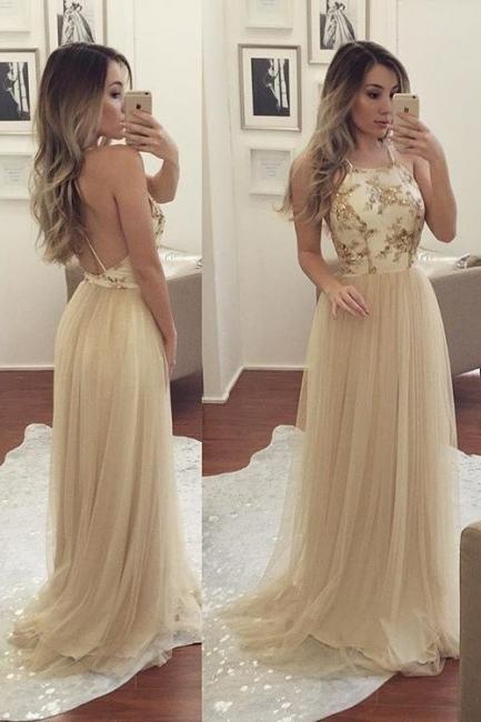Champagne Long Evening Dresses Tulle Spaghetti Straps Sheath Dress Evening Wear Prom Dresses