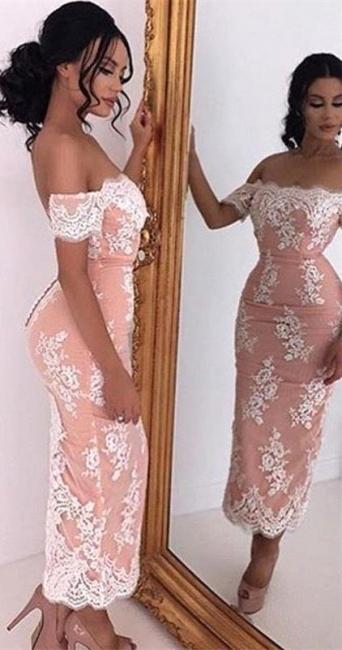 Elegant prom dresses short cheap lace ankle-length evening wear prom dresses