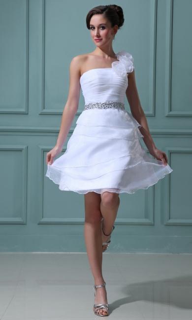 Simple Wedding Dresses Short White Organza A Line Wedding Dresses Wedding Fashions