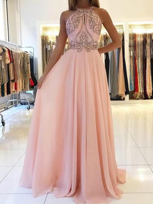 Pink Chiffon Long Evening Dresses With Beaded Sheath Dress Prom Dresses Cheap