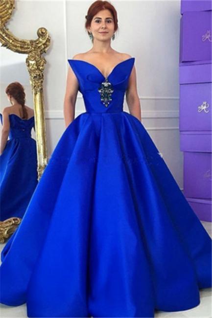 Prinzessin Quinceanera Kleider Lang Blau Abendkleider Satin Abendmoden