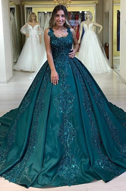 Elegant evening dresses green | Evening wear princess with lace