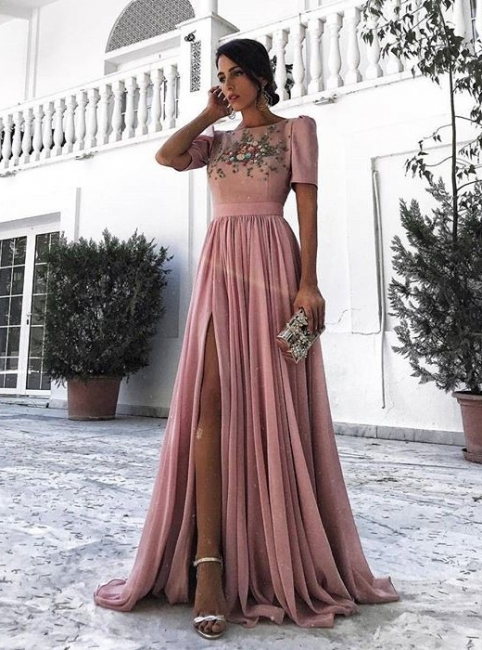 Dusty Pink Evening Dresses Long Cheap With Short Sleeves Beaded Chiffon Evening Dress Prom Dresses