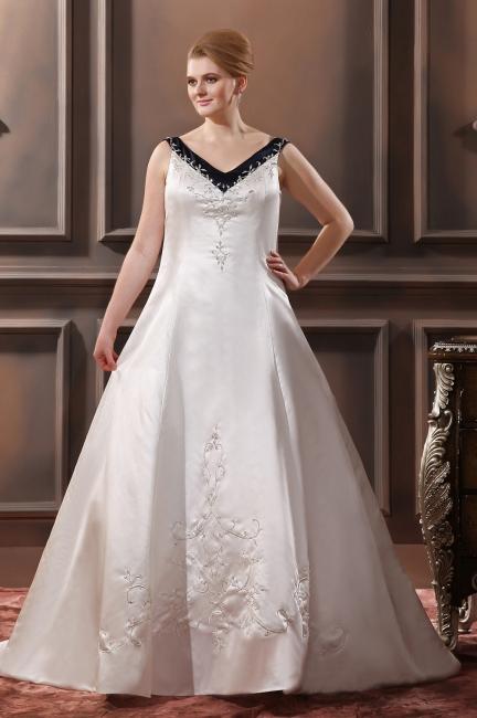 Schwarz Weiß Brautkleider Große Größe Träger Satin Hochzeitskleider Übergröße Günstig