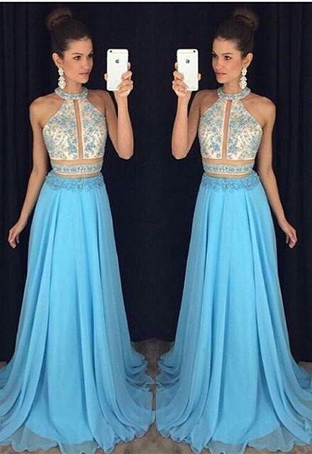 Blue White Prom Dresses Long Beaded Chiffon Cheap Prom Dresses Evening Wear