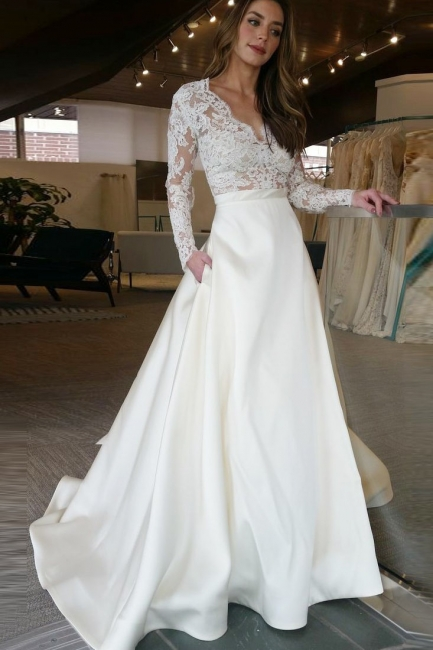 Designer Wedding Dresses Cream A Line Lace Wedding Dresses With Sleeves