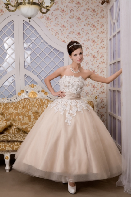 Champagne wedding dresses short with lace tulle calf-length wedding dresses bridal