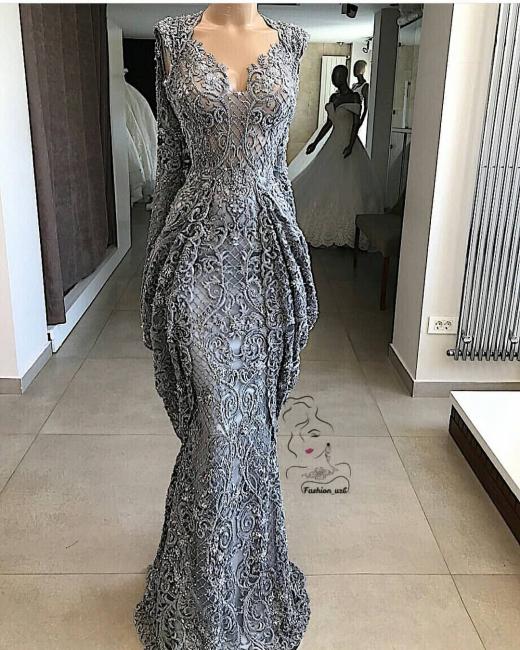Gray evening dresses long cheap lace evening wear online
