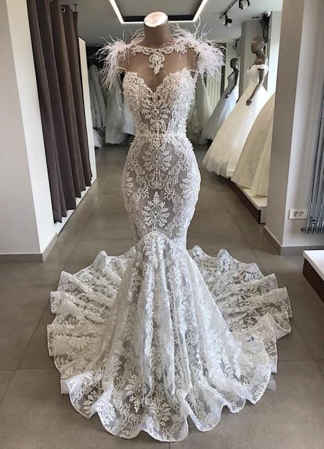 Mermaid lace wedding dress | Vintage dresses wedding | Wedding dress with feathers