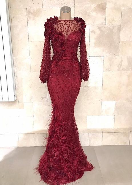 Fashion Abendkleider Lang Spitze Rot | Abiballkleid Mit Ärmel