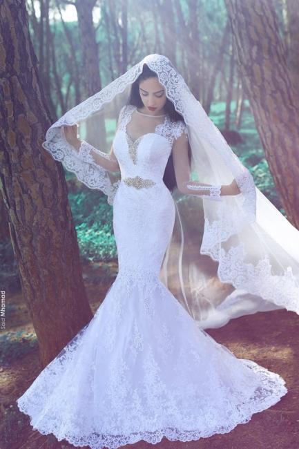 Designer Hochzeitskleider Mit Ärmel Meerjungfrau Spitze Brautkleider Online Bestllen