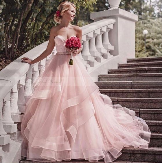 Buy Modern Pink Wedding Dresses With Lace Heart Princess Wedding Gowns Online