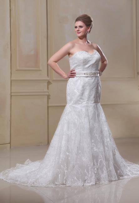 Weiß Brautkleider Große Größe Spitze Meerjungfrau Übergröße Hochzeitskleider Mit Schleppe