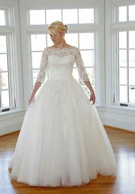 Elegante Weiß Brautkleider Große Größe Lang Ärmel Spitze Übergröße Hochzeitskleider Günstig