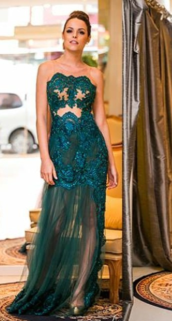 Sexy Turquoise Evening Dresses Long Lace Beaded Floor Length Evening Wear Prom Dresses