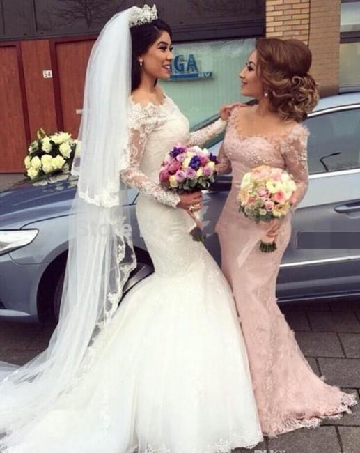Pink Bridesmaid Dresses Long Sleeves Lace Mermaid Dresses For Bridesmaids