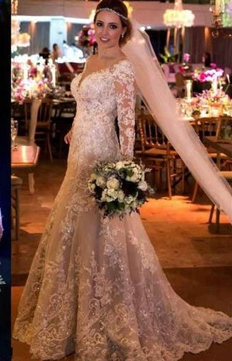 Fashion White Wedding Dresses With Sleeves Lace A Line Wedding Dresses Online