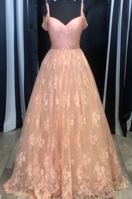 Pink Evening Dresses Lace A Line Long Prom Dresses Evening Wear Online