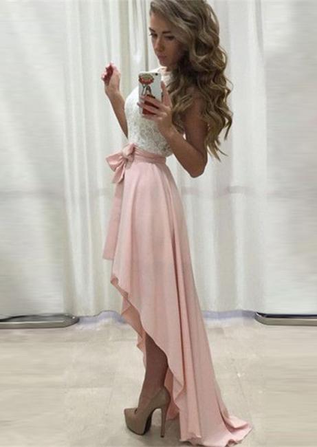 Rosa Weiß Abendkleider Lang Kurz A Linie Abiballkleider Abendmoden