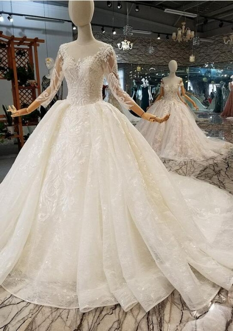 Luxury wedding dresses with sleeves | A line wedding dresses with lace