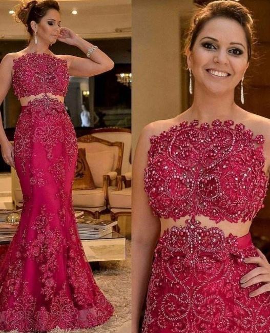 Elegant Rot Abendkleider Lang Spitze 2 Teilig Abendmoden Abschlussballkleider
