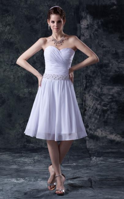 schlicht Weiß Brautkleider Kurz Chiffon Perlen Mini Brautmoden Hochzeitskleider