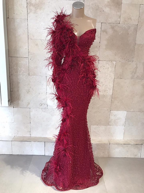 Elegant Evening Dresses Wine Red With Sleeves | Long glitter prom dresses