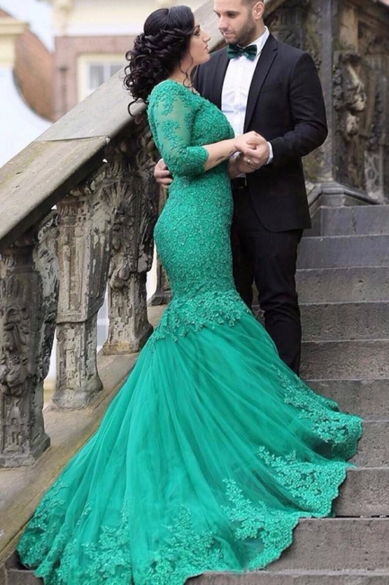 Grün Abendkleider Spitze Mit Ärmel Meerjungfrau Abschlussballkleider Abendmoden
