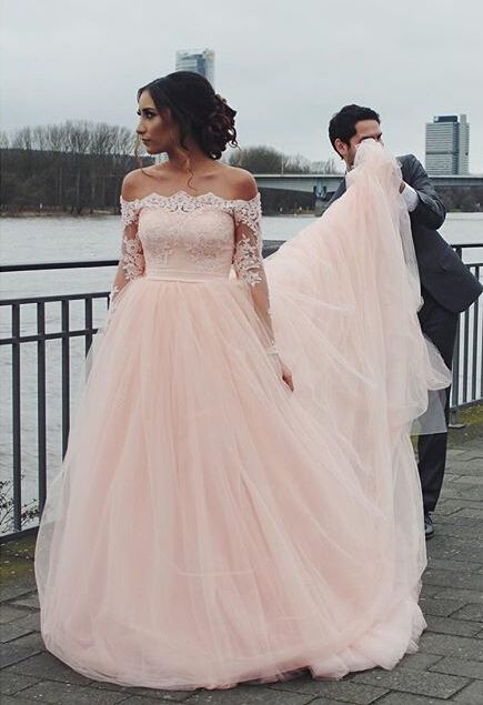 Pink wedding dresses long sleeves with lace tulle bridal wedding dresses cheap floor length