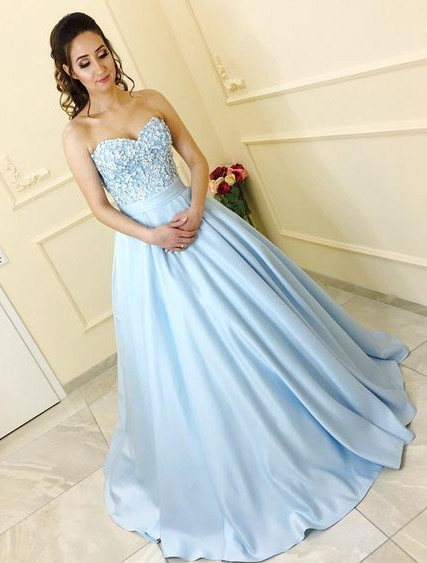 Blue prom dresses long with lace satin princess prom dresses cheap