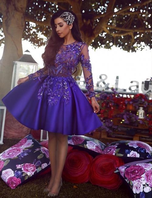 Elegant cocktail dress blue knee length short evening dresses with sleeves