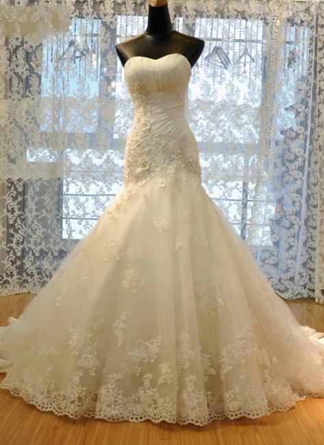 Wedding dresses cream lace mermaid wedding dresses with train bridal dresses online