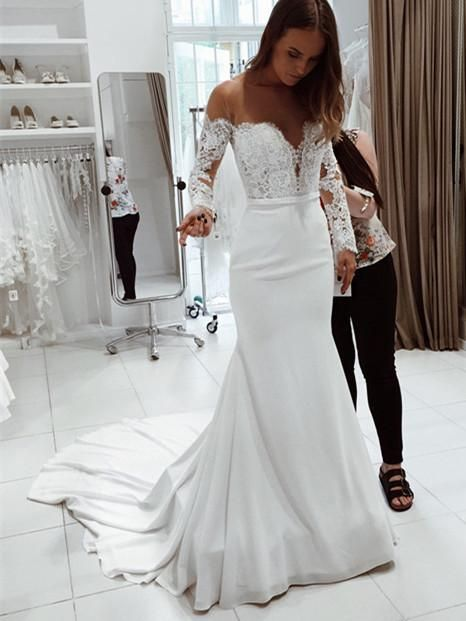 Fashion wedding dresses with lace sleeves | Mermaid wedding dresses online