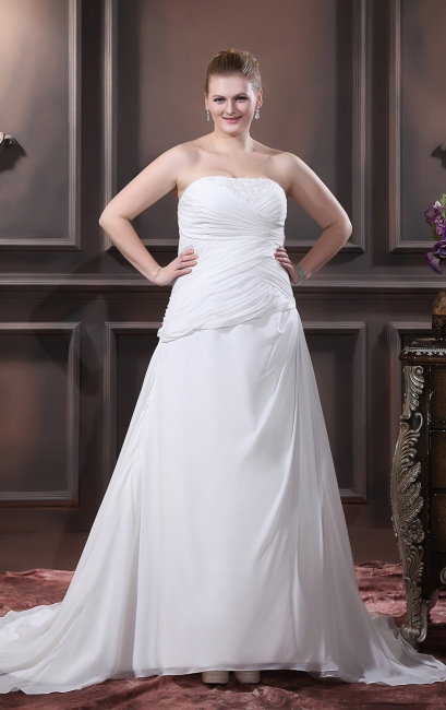 Simple White Wedding Dresses Large Size A Line Chiffon Plus Size Wedding Gowns Cheap