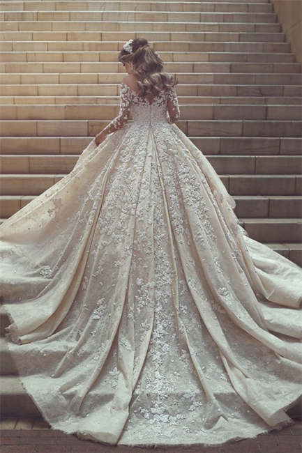 Sexy wedding dress with lace sleeves princess wedding dress with train