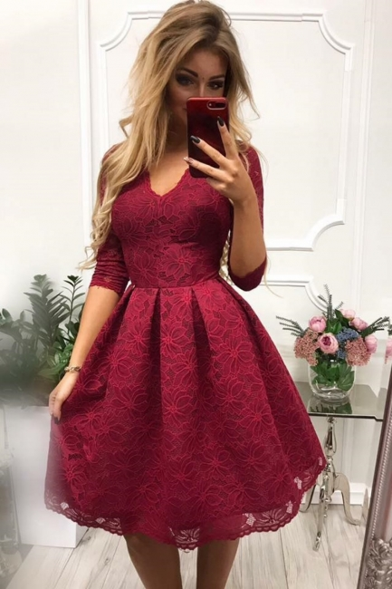Burgundy Cocktail Dresses With Sleeves | Lace prom dresses short prom dresses