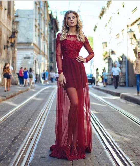 Modern Wine Red Evening Dresses Long Sleeves Cheap Prom Dresses Lace Online