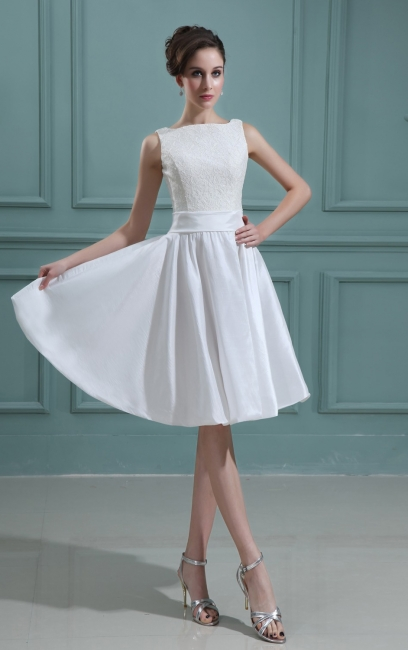White Wedding Dresses Short With Lace A Line Taffeta Bridal Wedding Gowns