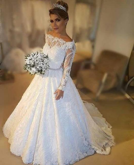 Modern Weiße Hochzeitskleider Mit Ärmel A Linie Bodenlang Brautkleider Günstig Online