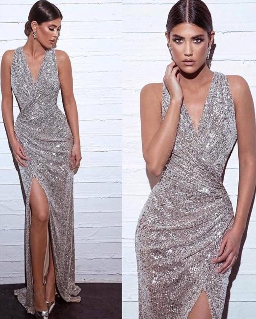 Elegante Abendkleider mit Glitzer | Abendkleider Lang V Ausschnitt