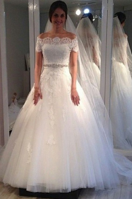 Wedding Dress A Line With Short Sleeves Tulle Wedding Dresses Cheap Online