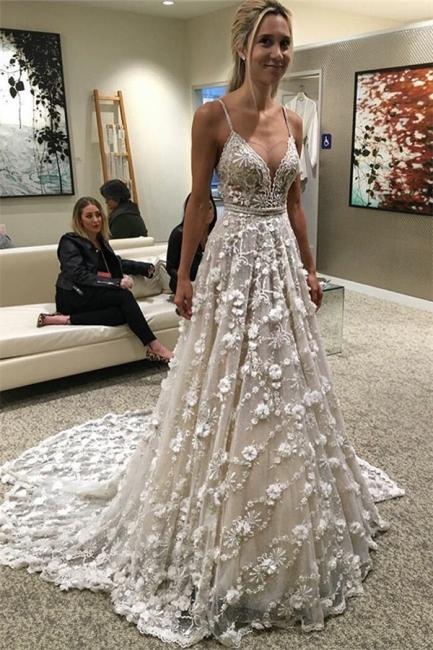 Modisch Brautkleider Weiß Spitze Träger A Linie Brautmoden Hochzeitskleider Online