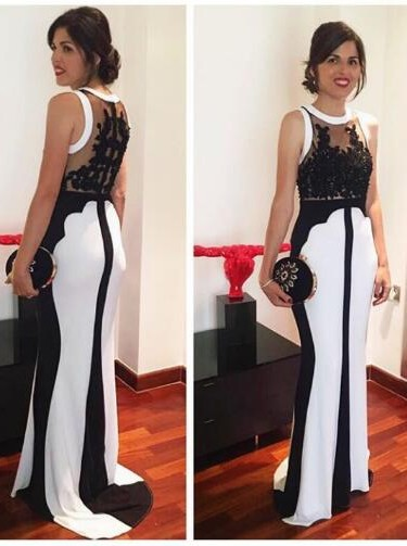 White Black Evening Dresses Long Cheap With Lace Mermaid Evening Wear Prom Dresses