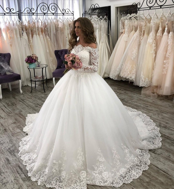 Fashion wedding dresses with sleeves | Lace bridal wear online
