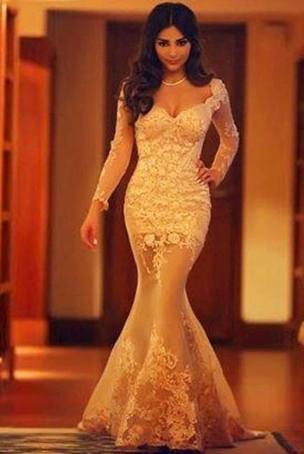 Elegant Evening Dresses Long Sleeves Lace Mermaid Floor Length Evening Wear Prom Dresses Cheap