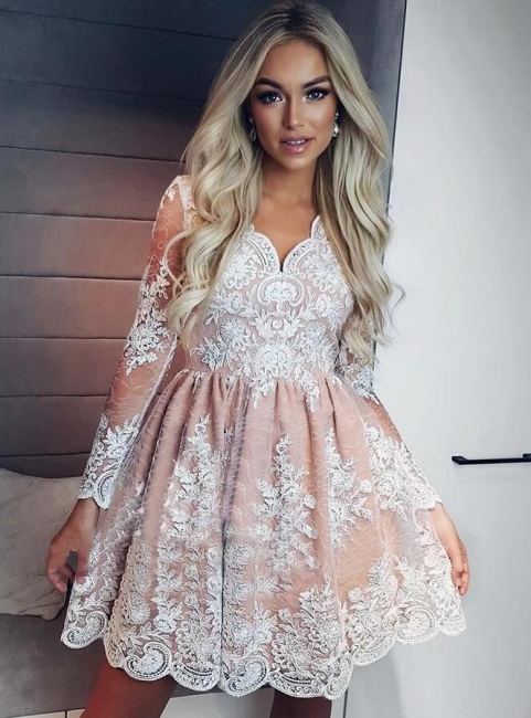 White Cocktail Dresses With Sleeves | Prom dresses lace cheap online