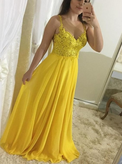 Yellow Chiffon Prom Dresses Long Cheap With Lace Sheath Dresses Formal Dresses