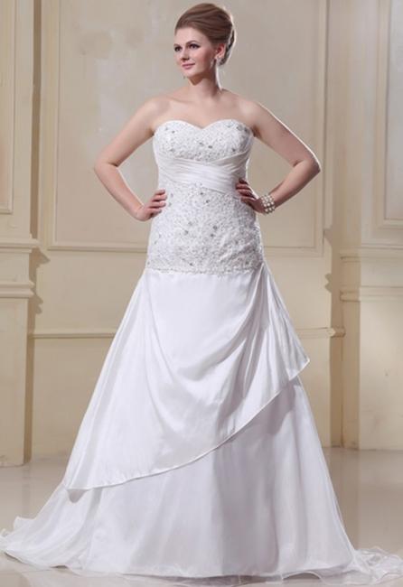 Weiß Hochzeitskleider Große Größe Meerjungfrau Satin Übergröße Brautkleider Nach Mäßig